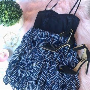 💕CUTE 💕 H&M Navy Blue Ruffled Dress Size 6